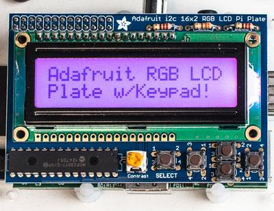 Adafruit RGB Negative/Positive 16x2 LCD+Keypad Kit