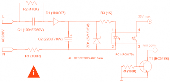 Схема датчика наличия напряжения 220 в