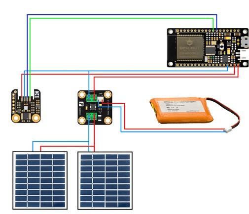Схема подключения ESP32 и других элементов погодной станции