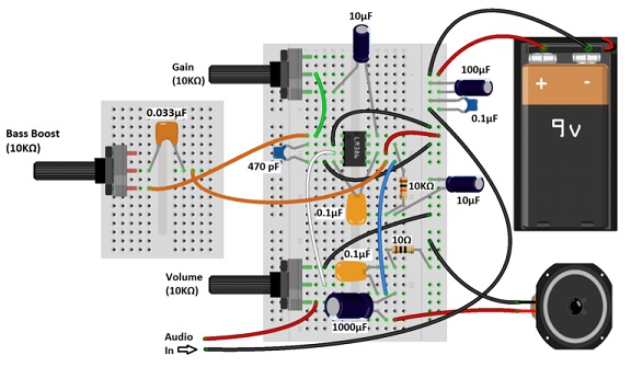 Качественный усилитель звука на LM386 с усилением басов