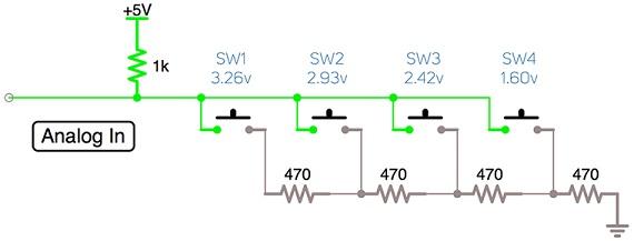 Делитель напряжения для управления несколькими кнопками с помощью одного вывода