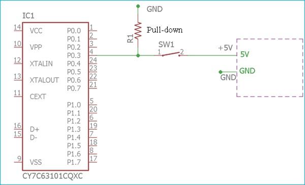 Использование pull-down резистора