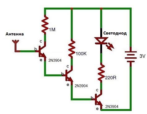 Схема бесконтактного индикатора напряжения