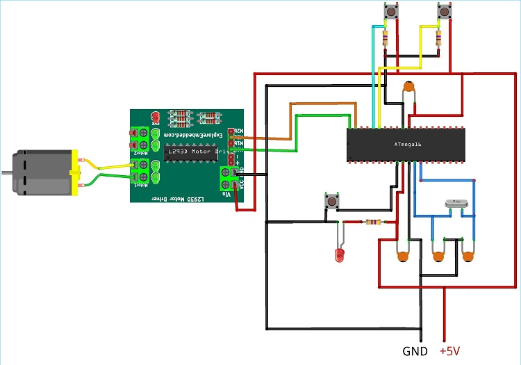 Схема подключения микроконтроллера ATmega, драйвера L293D и двигателя постоянного тока