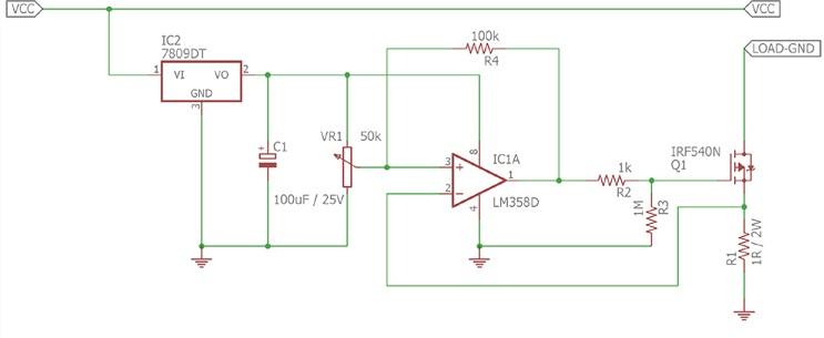 Простая схема защиты от превышения тока на основе операционного усилителя